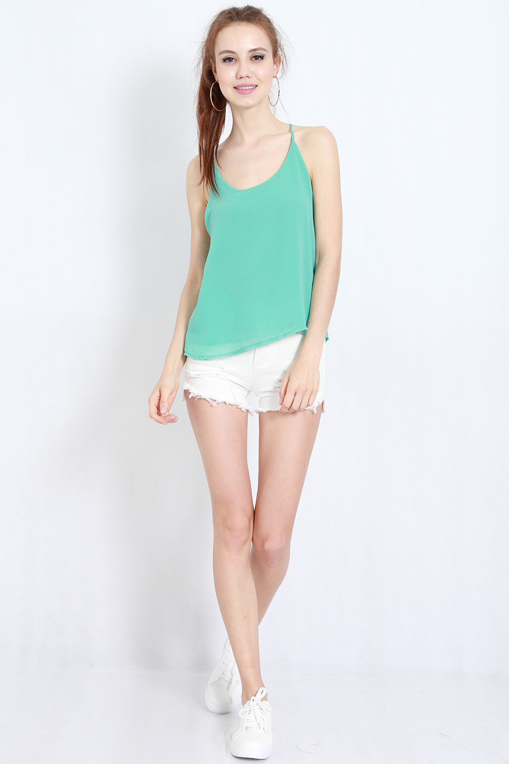 Holey Chiffon Top (Mint) -  - 3