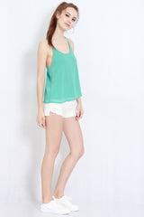 Holey Chiffon Top (Mint) -  - 4