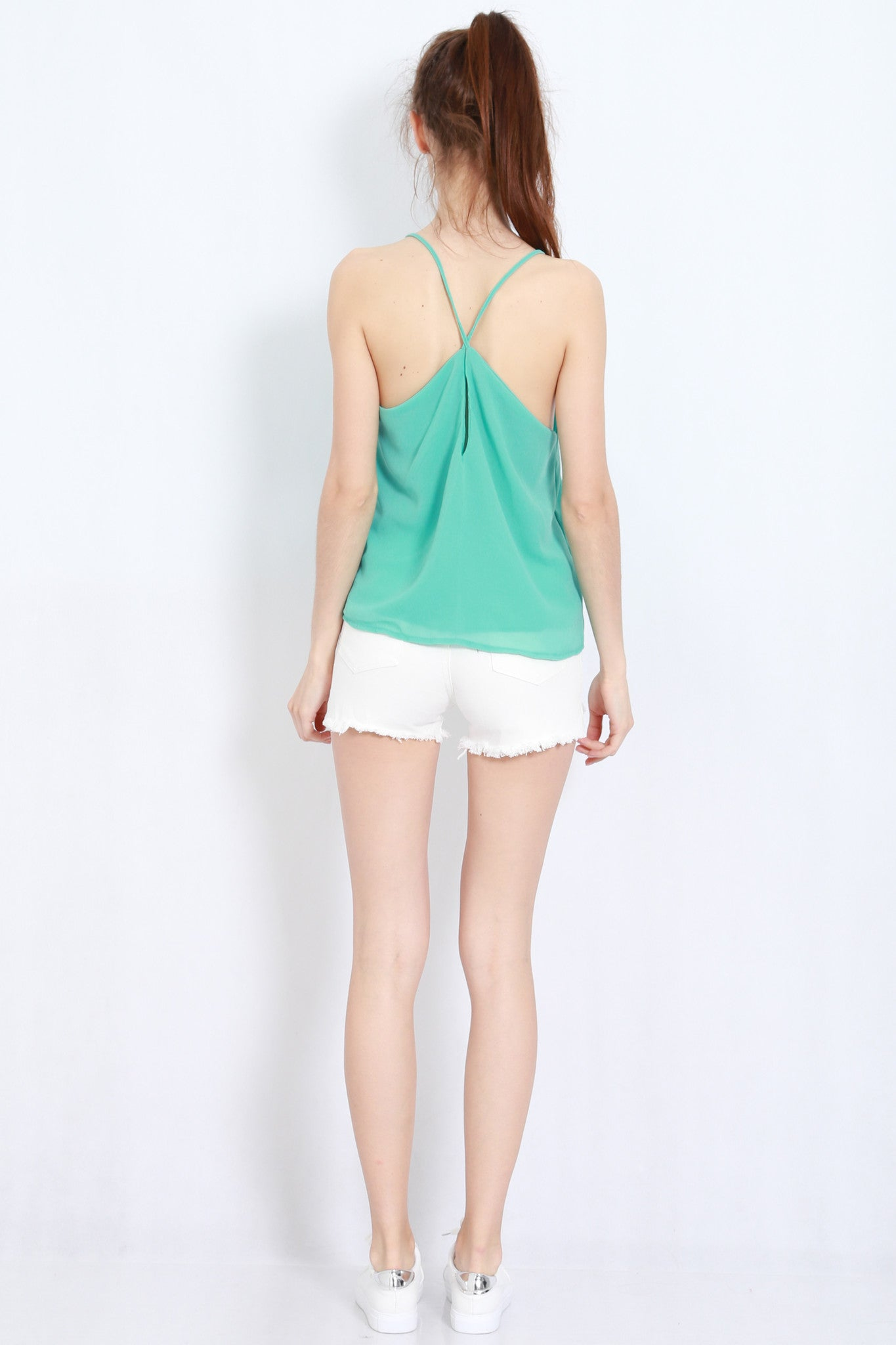 Holey Chiffon Top (Mint) -  - 5