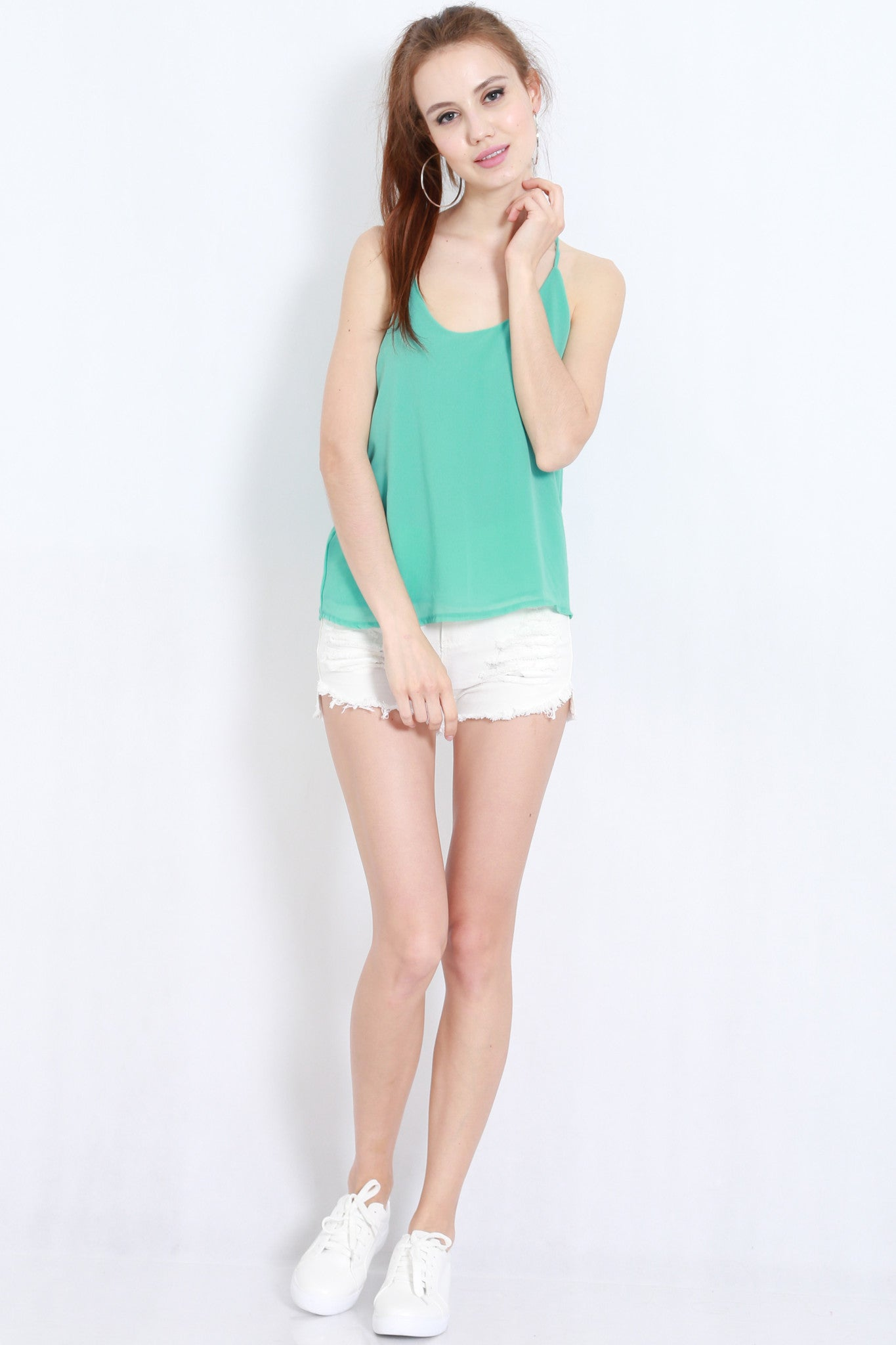 Holey Chiffon Top (Mint) -  - 6