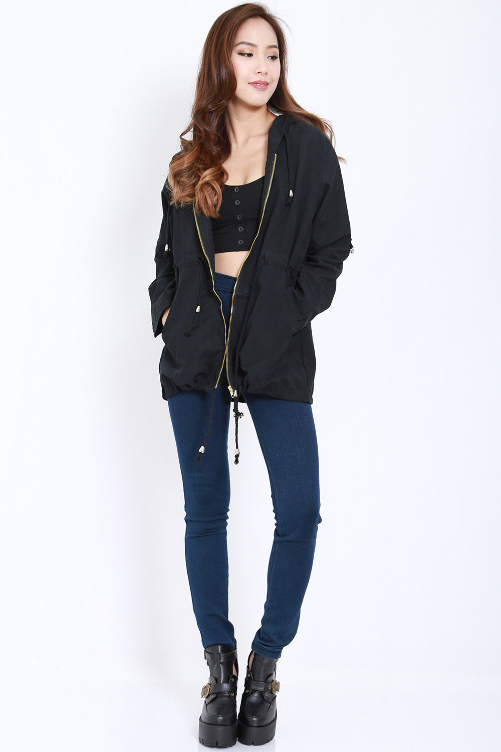 Hooded Parka (Black) -  - 1