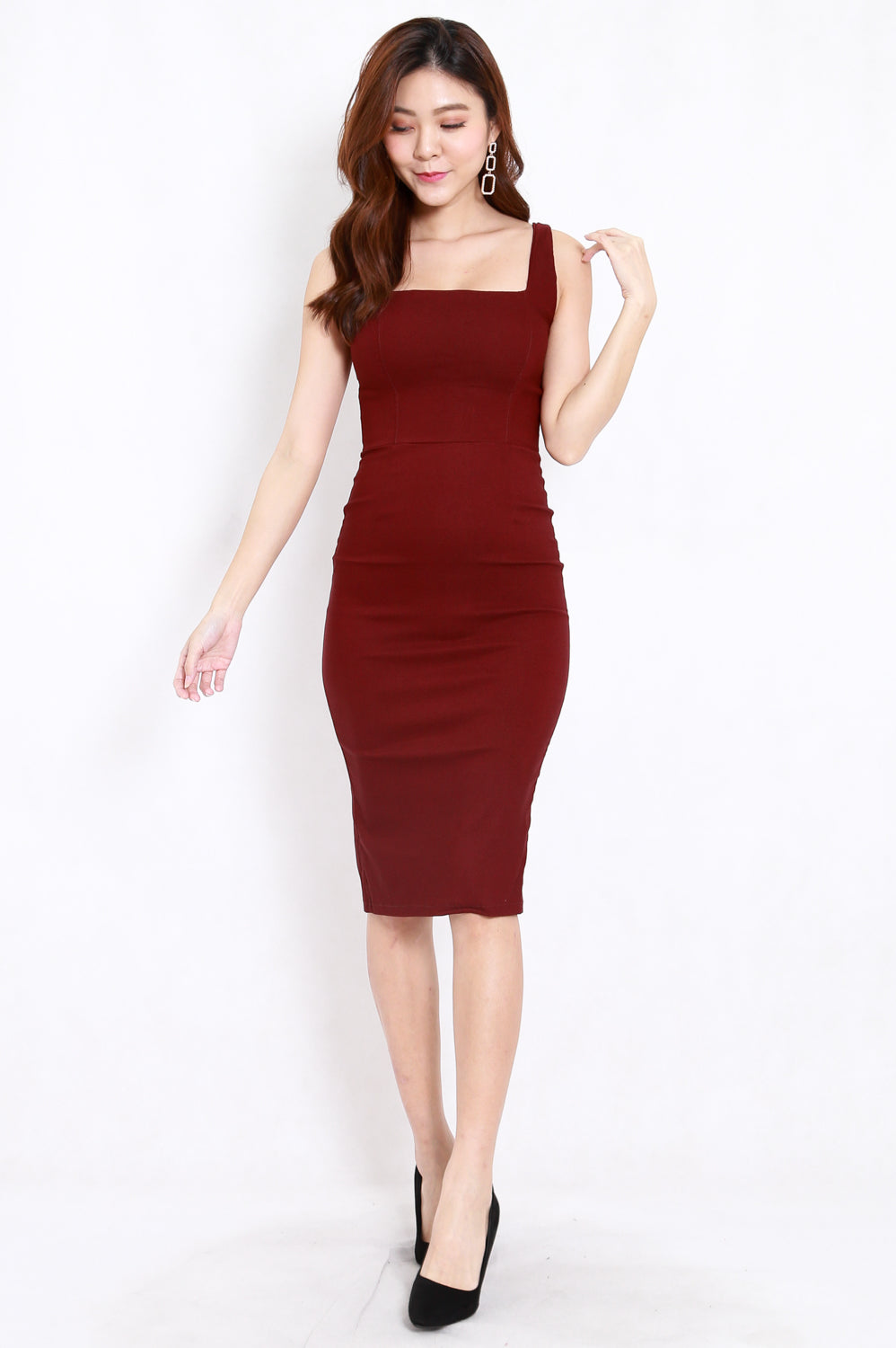 Square Neck Midi Dress (Maroon)
