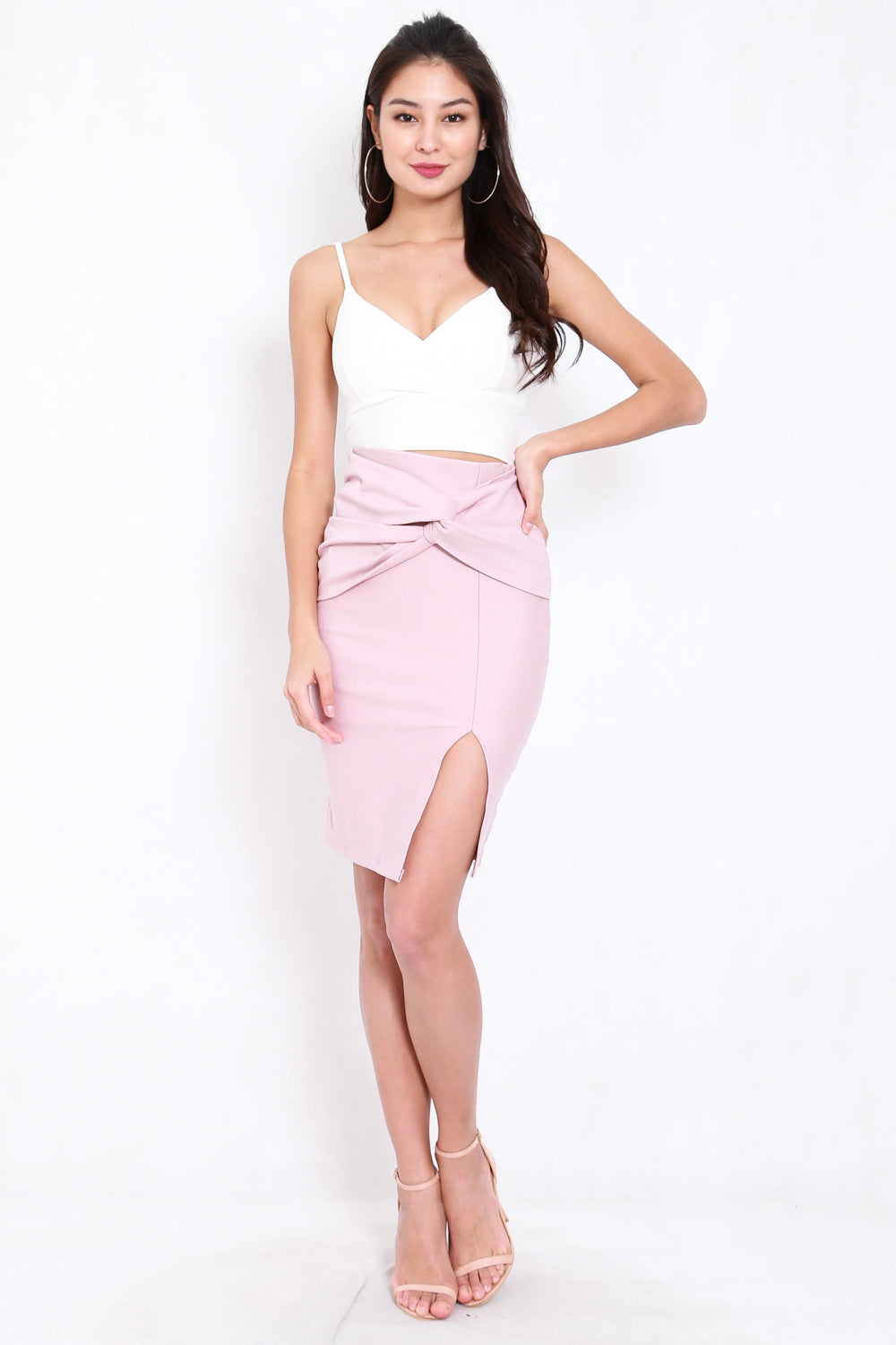 *Premium* Twist Knot Midi Skirt (Light Pink)