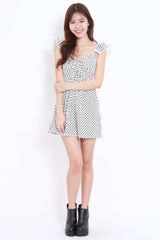 Polka Flutter Twist Dress (White)