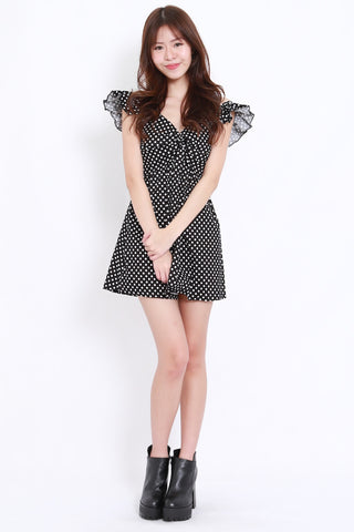 Polka Flutter Twist Dress (Black)
