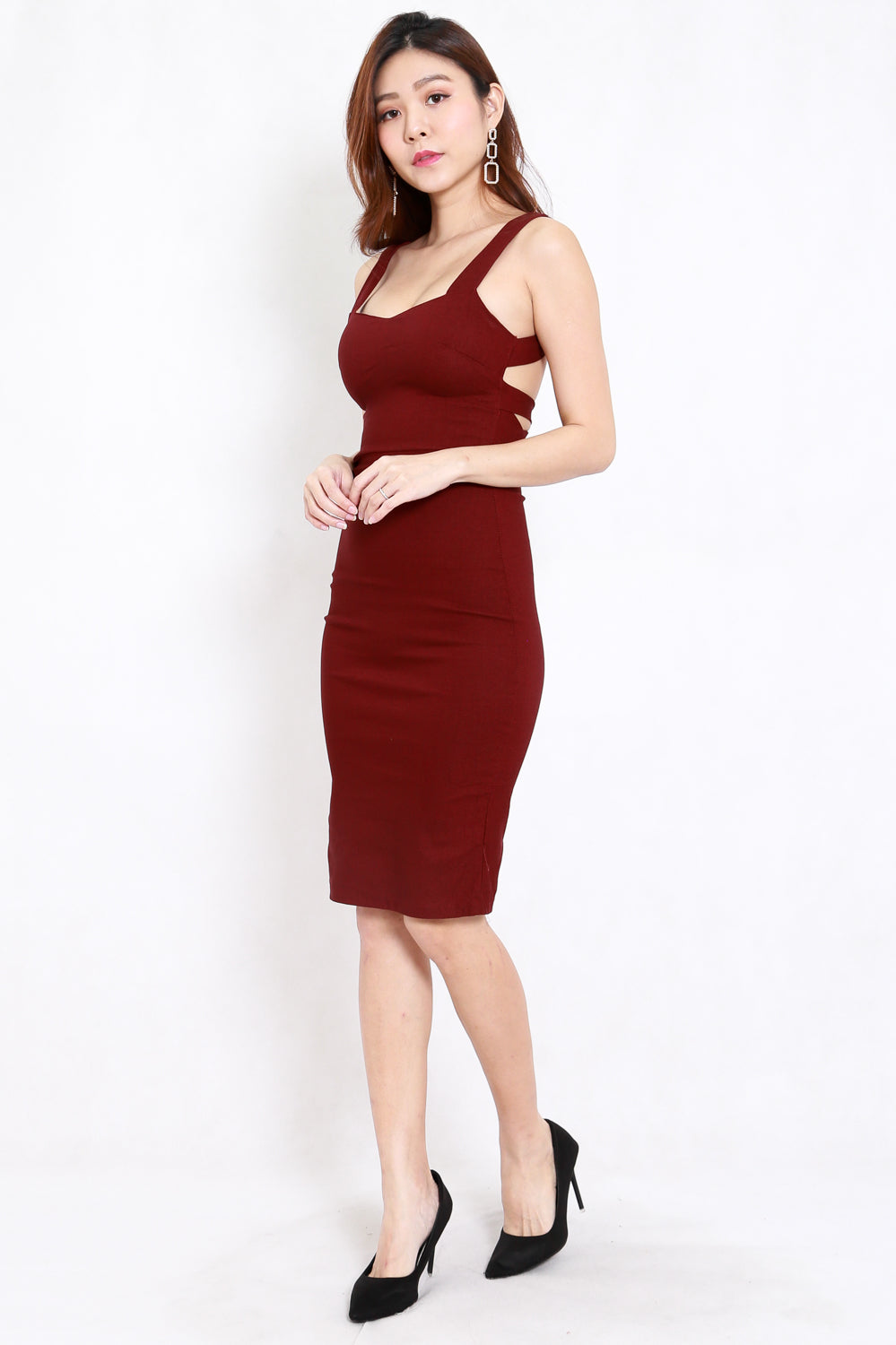 Kylie Open Back Midi Dress (Maroon)