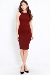 Kathy Midi Dress (Maroon)