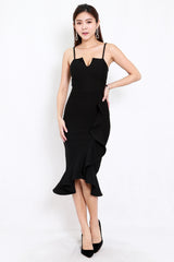 *Premium* Consolia Ruffle Midi Dress (Black)