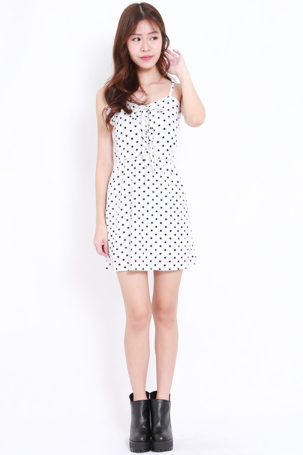 Polka Lace Babydoll Dress (White)