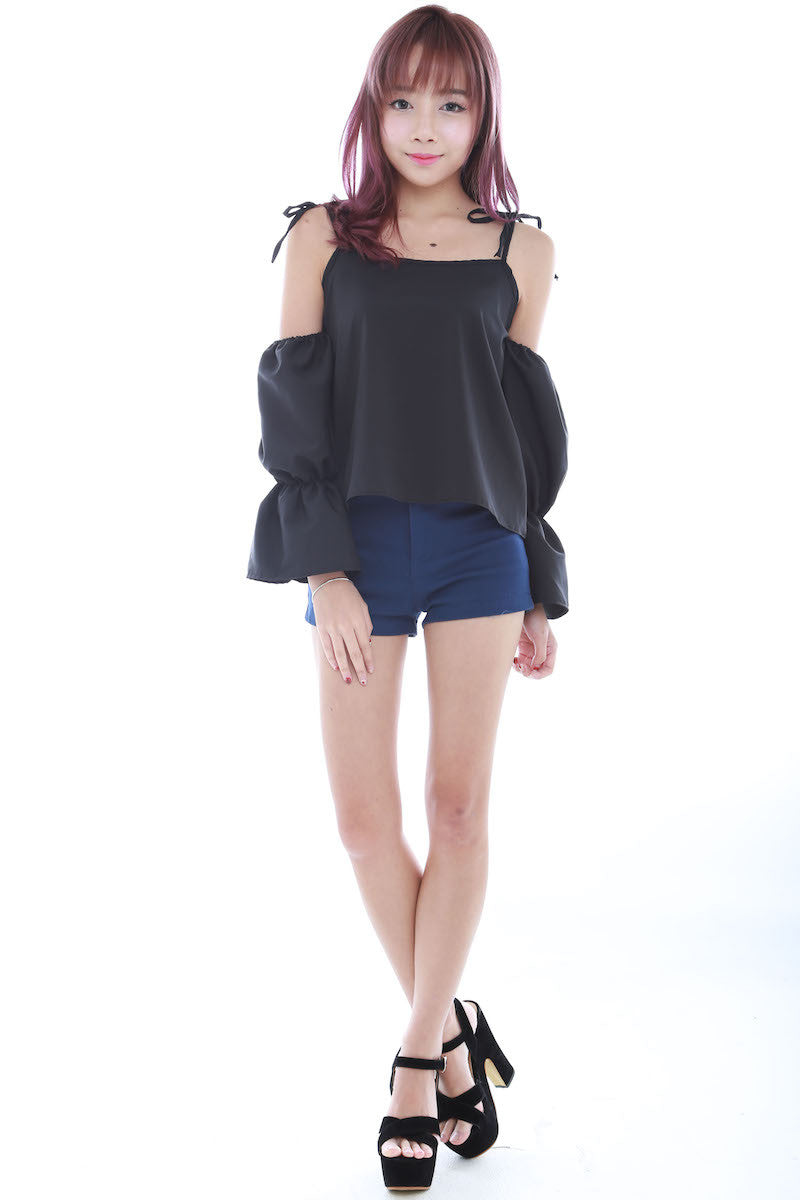 Tie String Offsie Top (Black) -  - 2