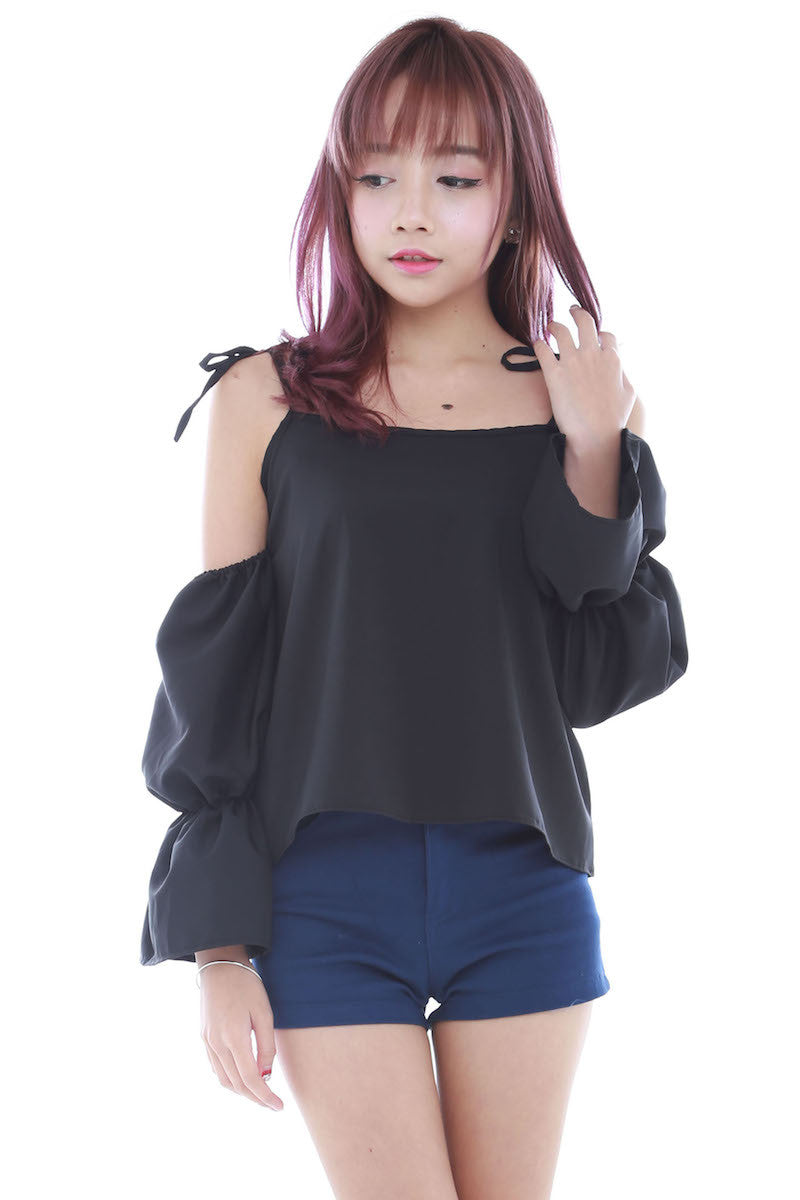 Tie String Offsie Top (Black) -  - 1
