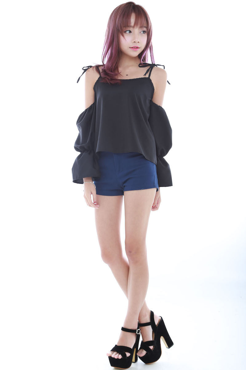 Tie String Offsie Top (Black) -  - 5