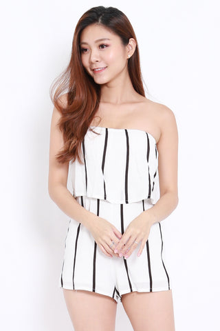 Basic White Stripes Romper