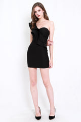 *Premium* Ruffle Toga Dress (Black)