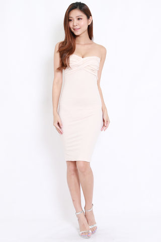 Sweetheart Tube Midi Dress (Cream)