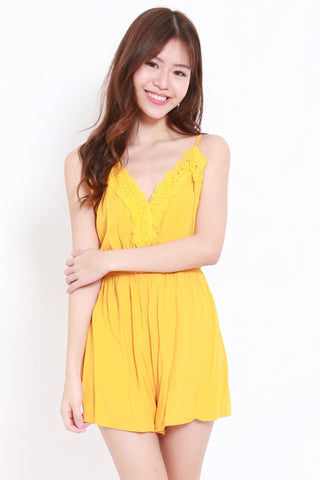 Overlap Cross Back Romper (Yellow)
