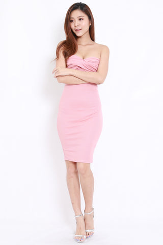 Sweetheart Tube Midi Dress (Pink)