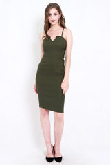 Eva V Midi Spag Dress (Olive)
