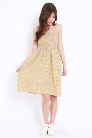 Smoked Gingham Midi Dress (Yellow)