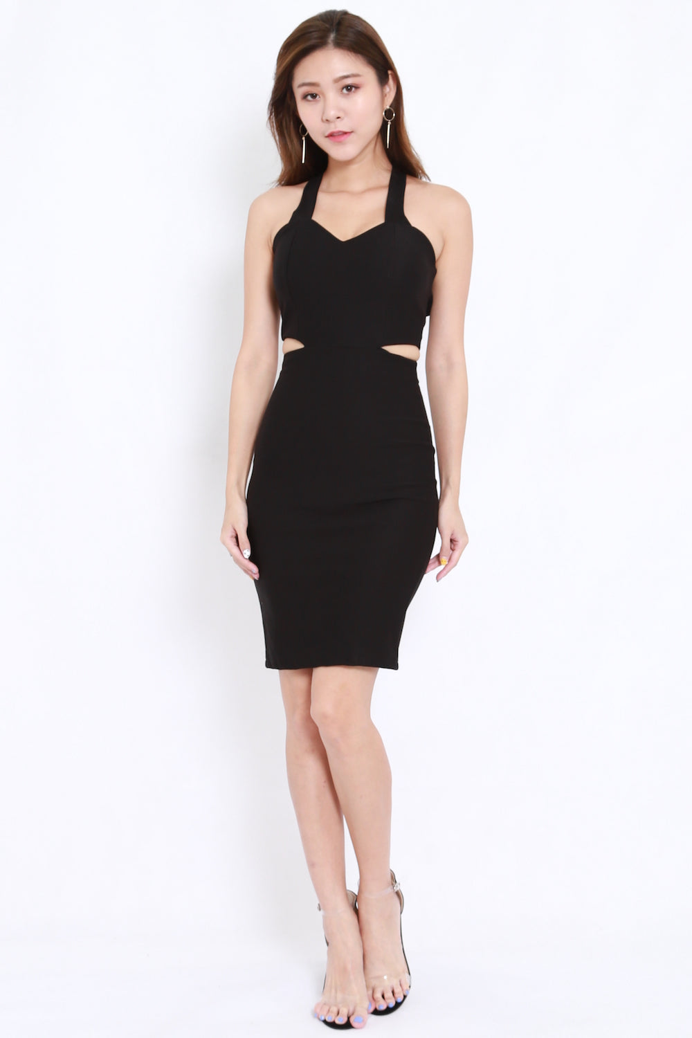 2way Cutout Midi Dress (Black)