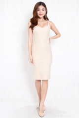 *Premium* Criss Cross Back Midi Dress (Ivory)