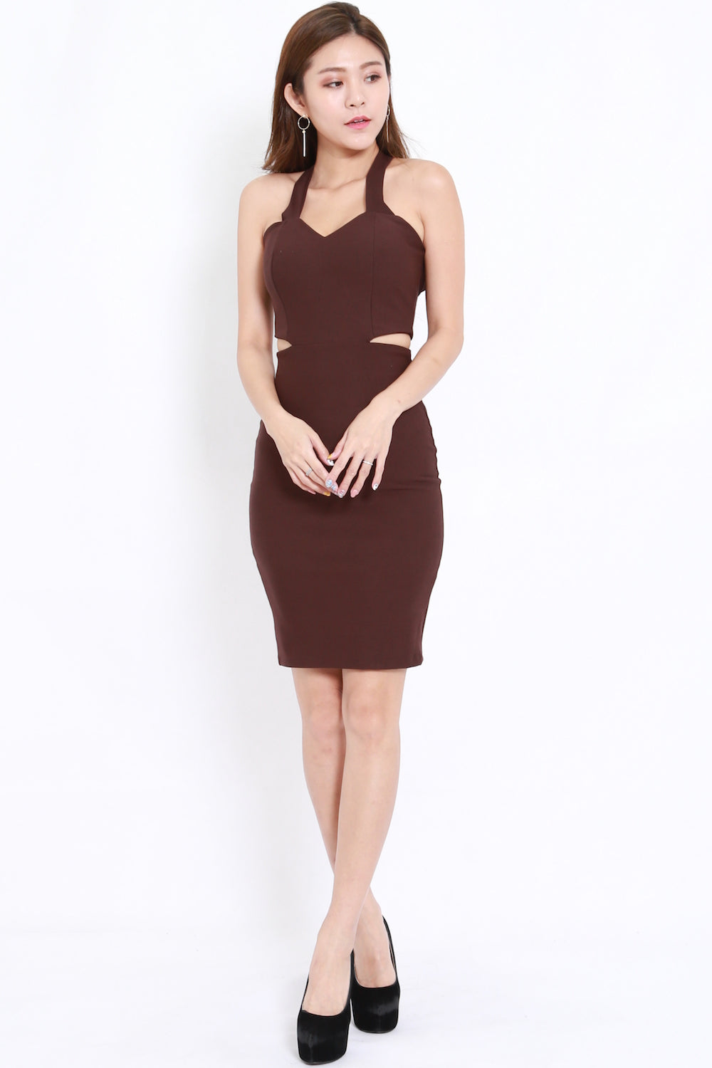 2way Cutout Midi Dress (Brown)