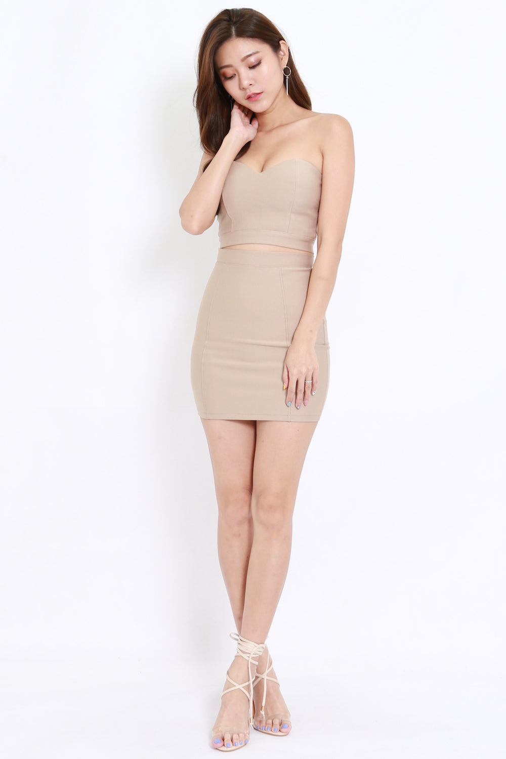Back Cage Sweetheart Bralet 2pcs Set (Nude)