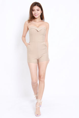 Sweetheart Pocket Romper (Nude)