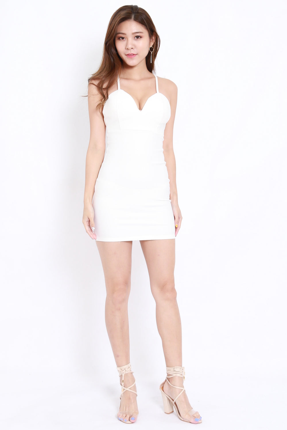 *Premium* Cross Back Sweetheart Dress (White)