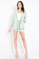 Chiffon Blazer 2pcs Set (Mint)