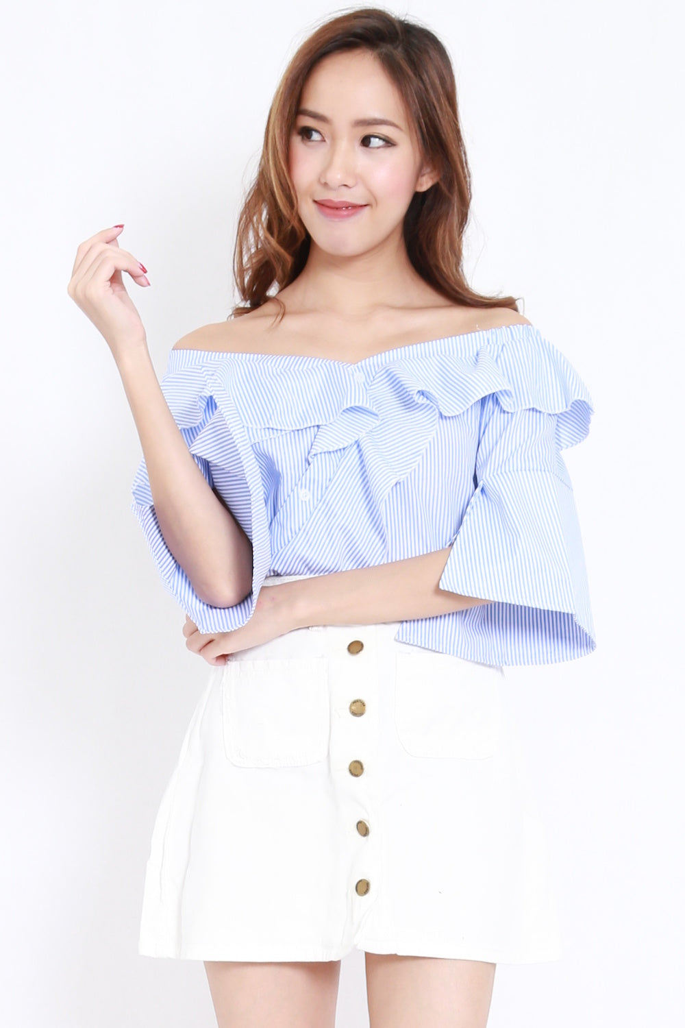 Ruffle Off Shoulder Buttons Top (Stripes)