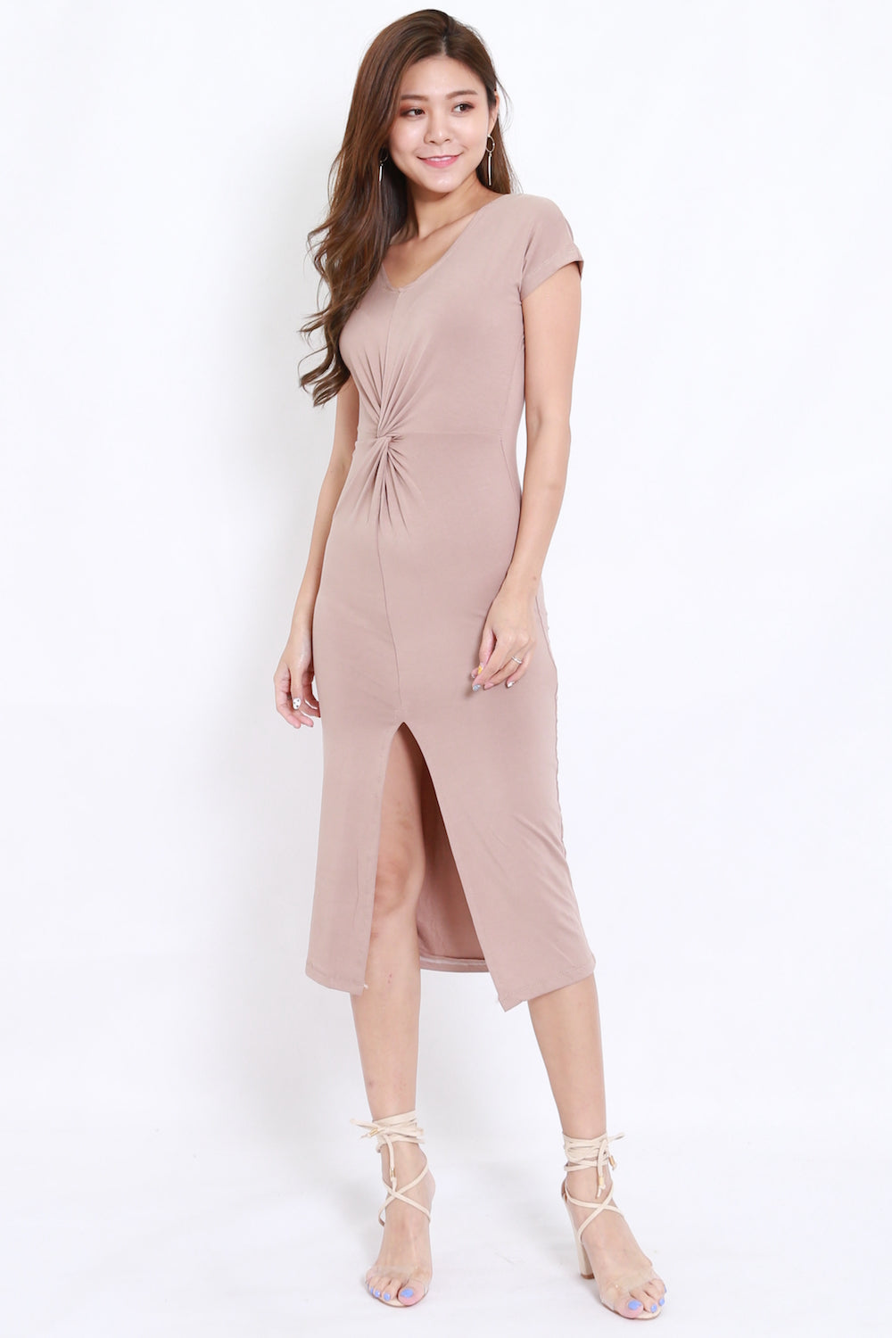 Twist Front Slit Midi Dress (Taupe)