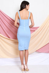 [Backorder] Square Neck Slit Midi Dress (Baby Blue)