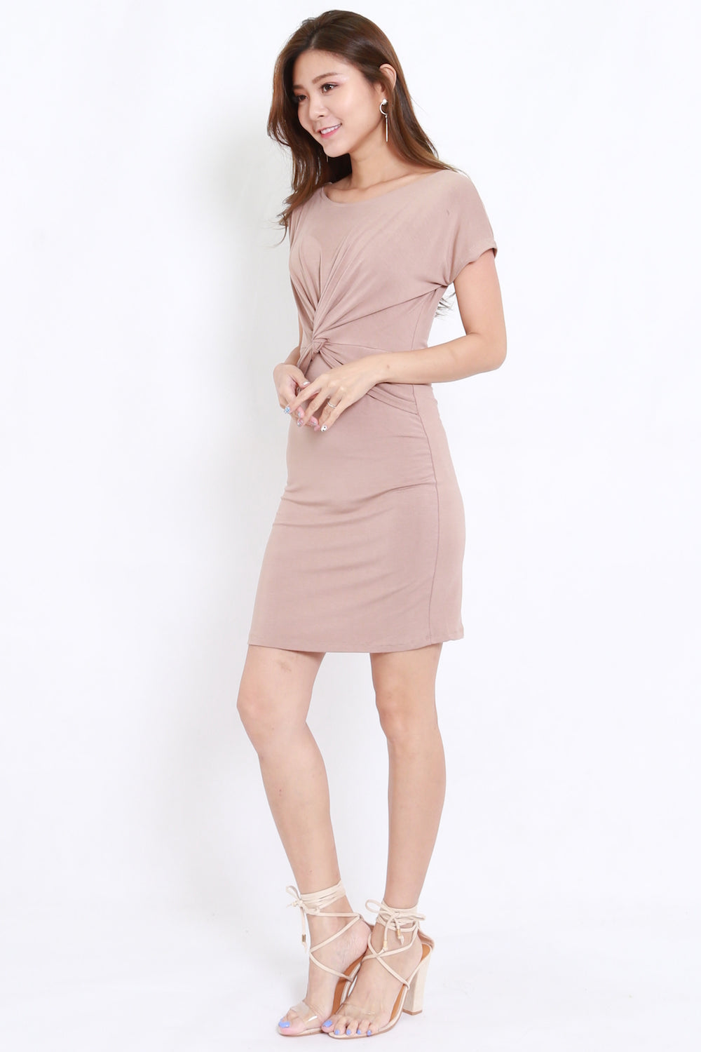 Cold Shoulder Twist Dress (Taupe)