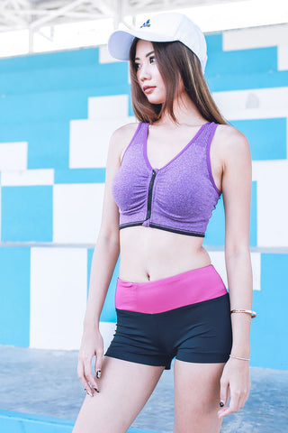 Xenon Zip Sports Bra (Purple) -  - 1