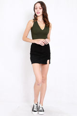 Cassia V Neck Top (Olive)