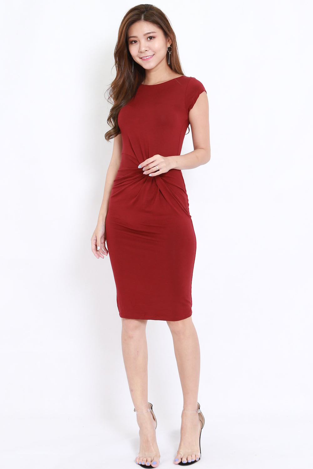 Side Twist Cap Sleeve Midi Dress (Maroon)