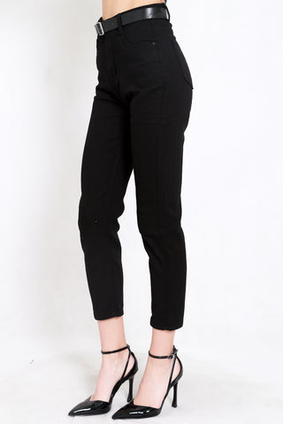 Belted Denim Jeans (Black)