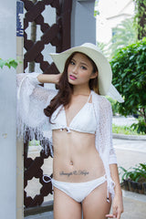 Knitted Shrug (White) -  - 3
