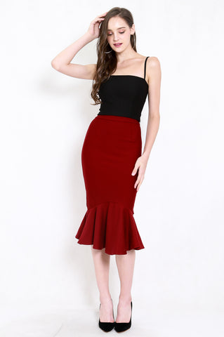 *Premium* Mermaid Midi Skirt (Maroon)