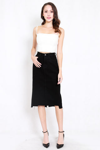 Raw Hem Denim Midi Skirt (Black)