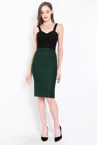 *Premium* Pencil Midi Skirt (Forest Green)