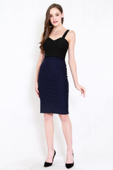 *Premium* Pencil Midi Skirt (Navy)