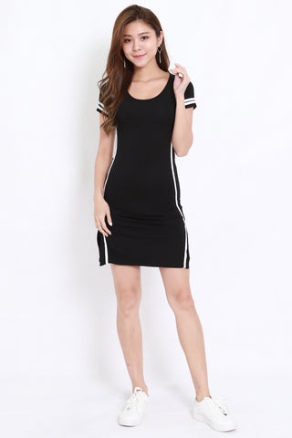 Jersey Stripes Tee Dress (Black)