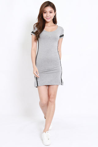 Jersey Stripes Tee Dress (Grey)