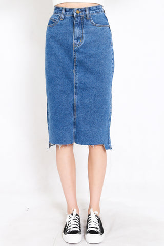 Raw Hem Denim Midi Skirt (Blue)