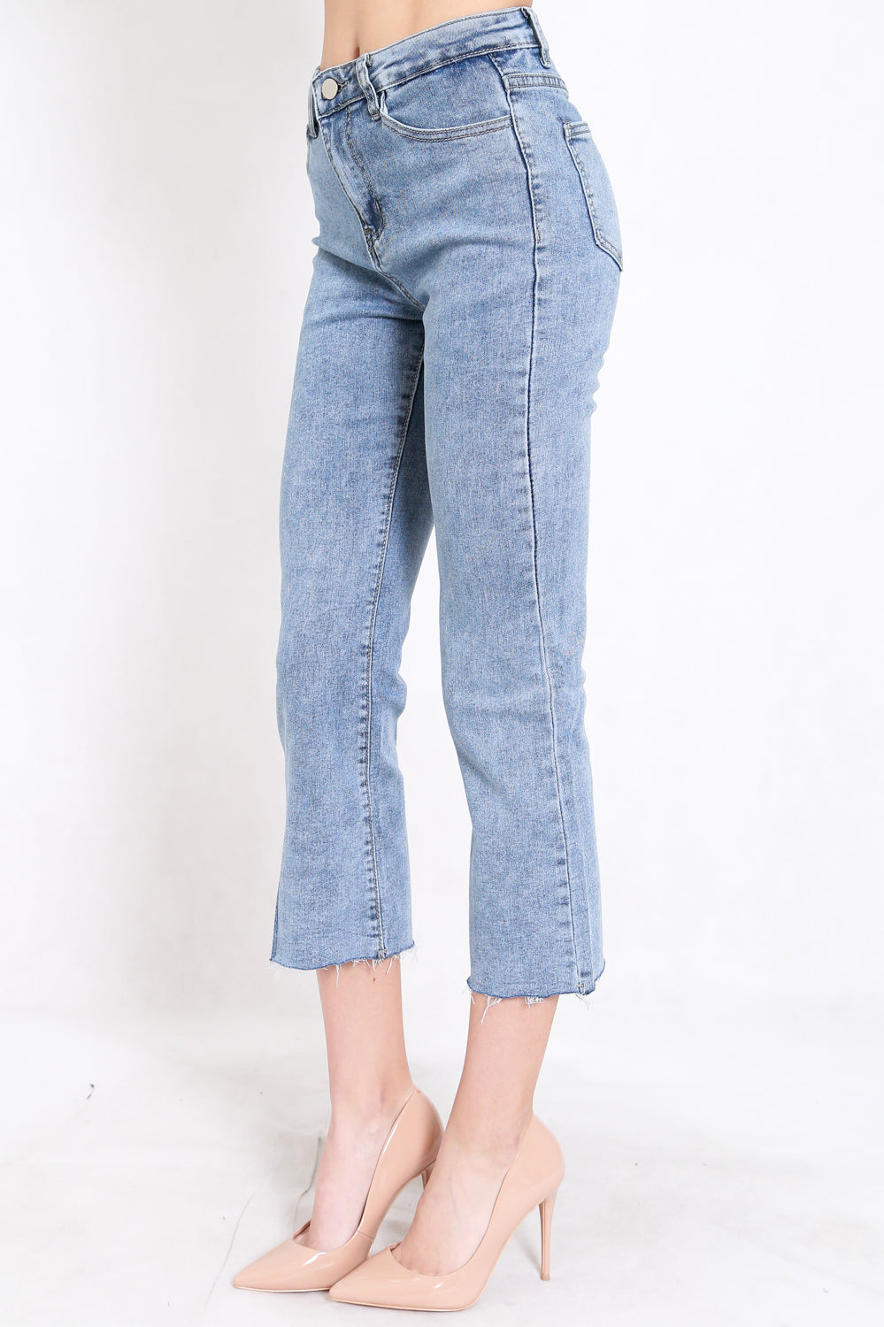Raw Hem Denim Jeans (Blue)