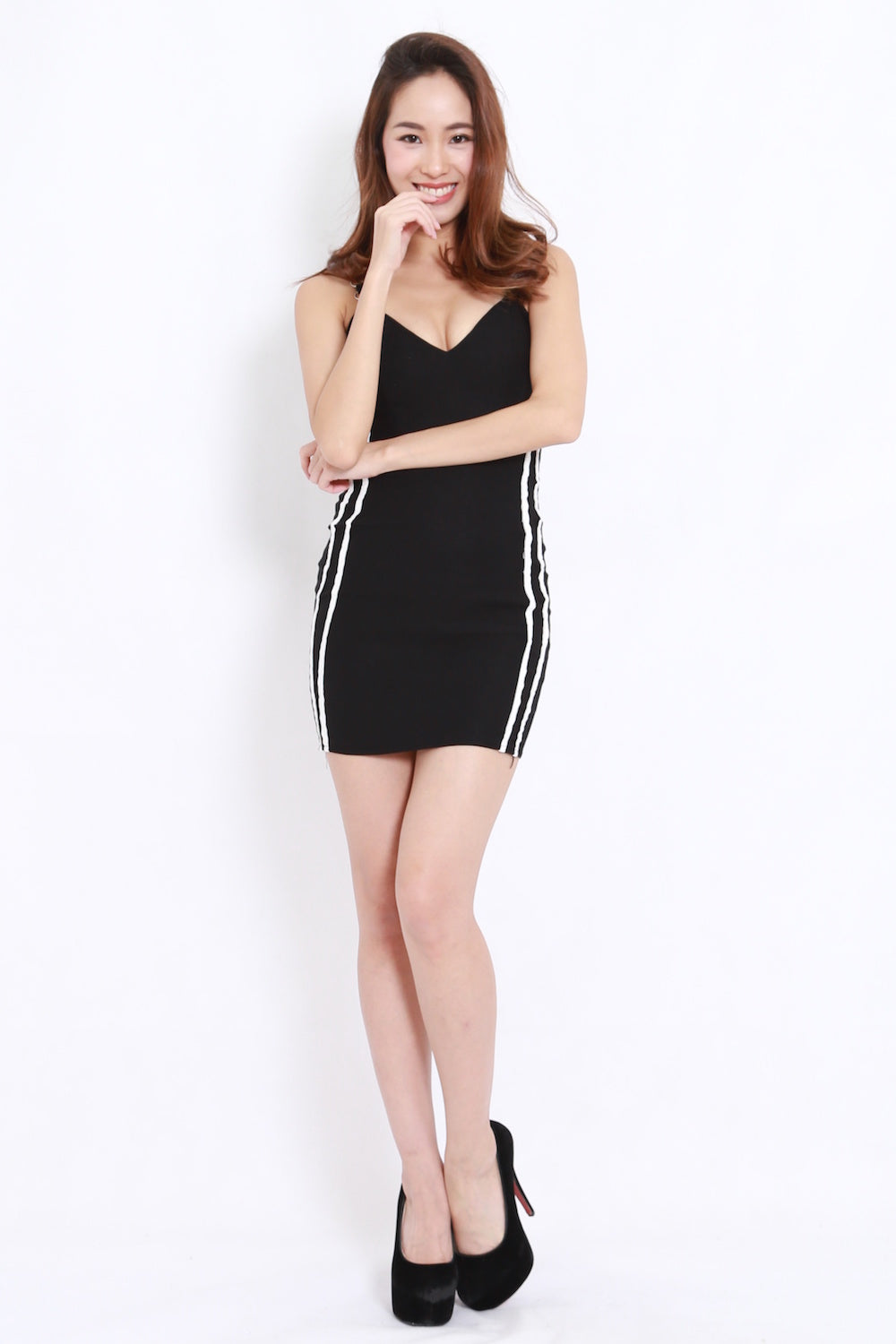 Jersey Side Lines Dress (Black)