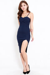 Crossover Slit Spag Dress (Navy)