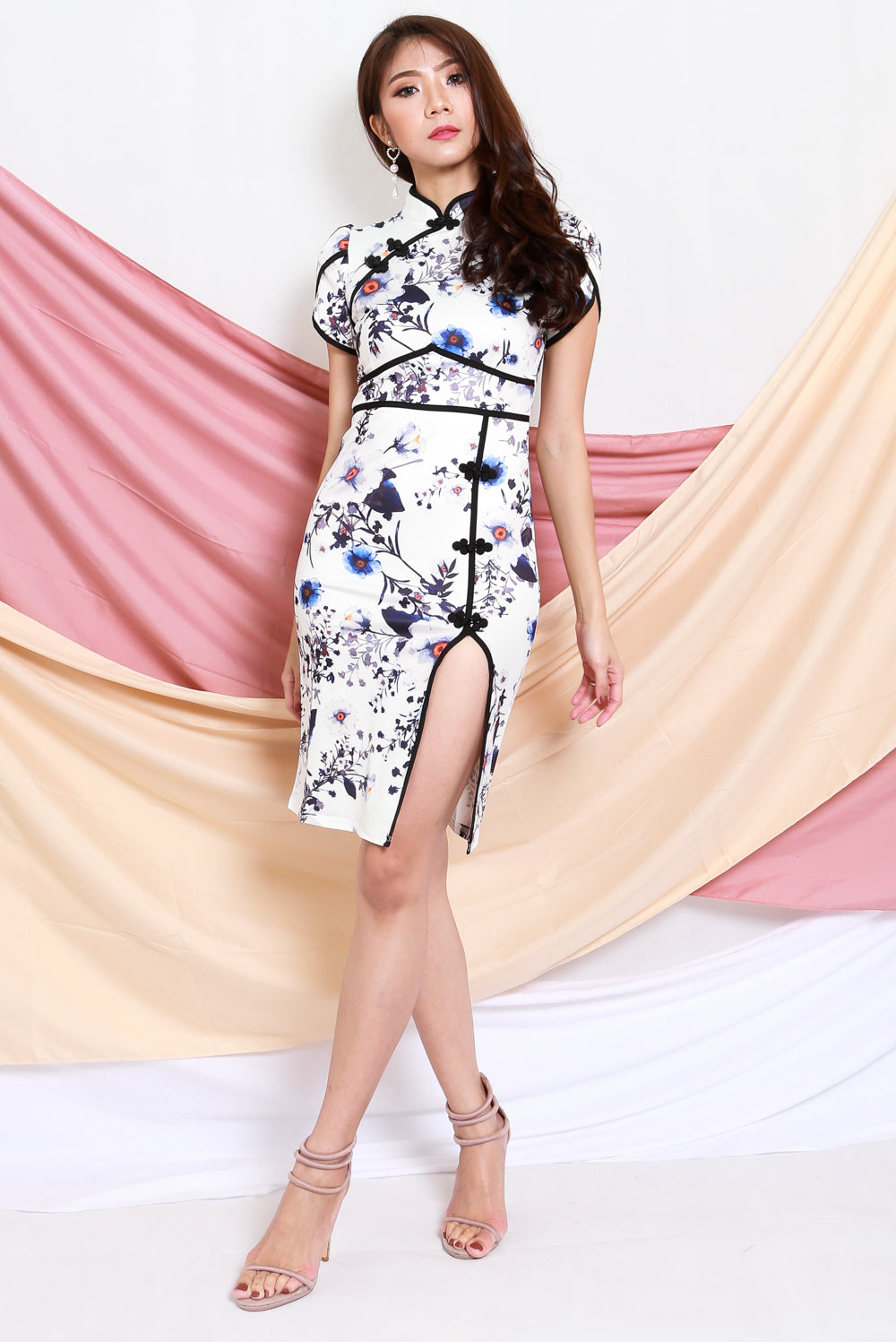 Outline Floral Midi Cheongsam Dress